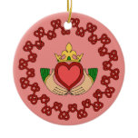 Claddagh and Red Knotwork on Pink Ceramic Ornament