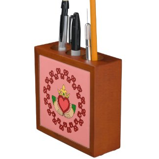 Claddagh and Red Knotwork on Pink Desk Organizer