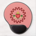 Claddagh and Red Knotwork on Pink Gel Mouse Pad