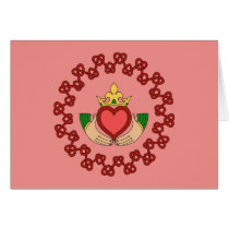 Claddagh and Red Knotwork on Pink Greeting Card