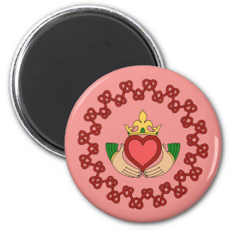 Claddagh and Red Knotwork on Pink Magnet