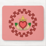 Claddagh and Red Knotwork on Pink Mouse Pad