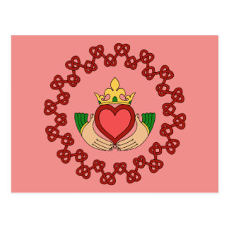 Claddagh and Red Knotwork on Pink Postcard
