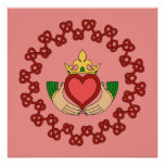 Claddagh and Red Knotwork on Pink Poster