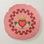 Claddagh and Red Knotwork on Pink Round Pillow
