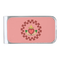 Claddagh and Red Knotwork on Pink Silver Finish Money Clip