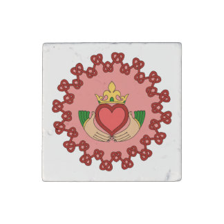 Claddagh and Red Knotwork on Pink Stone Magnet