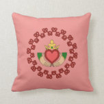 Claddagh and Red Knotwork on Pink Throw Pillow