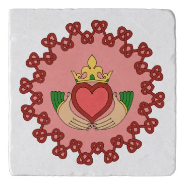 Valentines Themed Claddagh and Red Knotwork on Pink Trivet