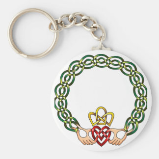 Claddagh Basic Round Button Keychain