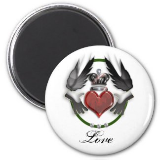claddagh heart 2 inch round magnet