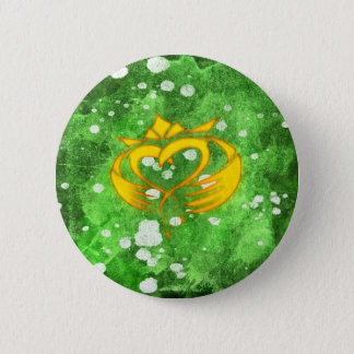 Claddagh Irish Celtic Splatter Button