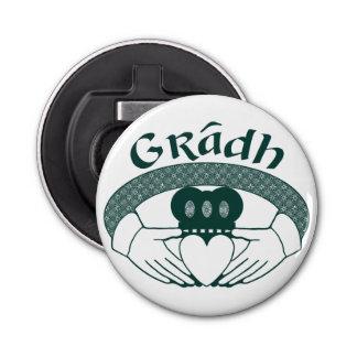 Claddagh Ring Love Gradh Gaelic in Green Bottle Opener