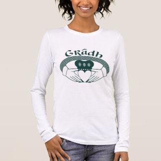 Claddagh Ring Love Gradh Gaelic in Green Long Sleeve T-Shirt