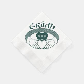 Claddagh Ring Love Gradh Gaelic in Green Napkin