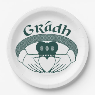 Claddagh Ring Love Gradh Gaelic in Green Paper Plate