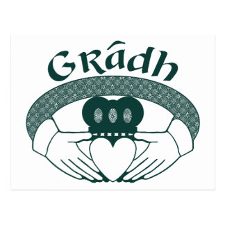 Claddagh Ring Love Gradh Gaelic in Green Postcard