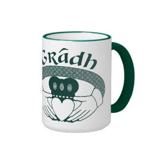 Claddagh Ring Love Gradh Gaelic in Green Ringer Mug