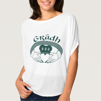 Claddagh Ring Love Gradh Gaelic in Green T-Shirt