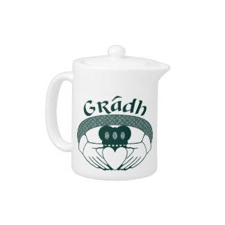 Claddagh Ring Love Gradh Gaelic in Green Teapot