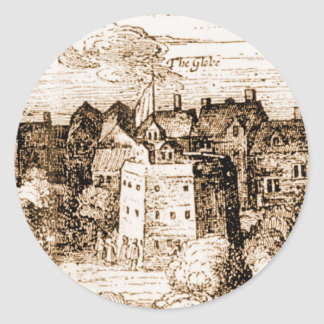 Claes Jansz Visscher Globe Theatre Engraving Classic Round Sticker