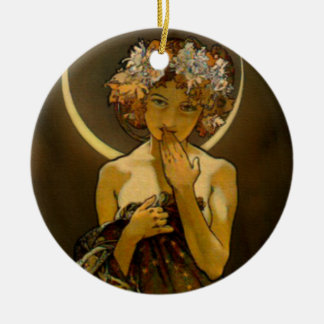 Clair de Lune Double-Sided Ceramic Round Christmas Ornament