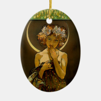 Clair de Lune Double-Sided Oval Ceramic Christmas Ornament