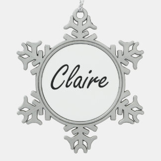 Claire artistic Name Design Snowflake Pewter Christmas Ornament