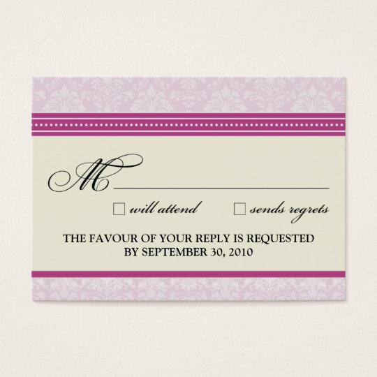 "::claire:: Charming Damask 3.5""x2.5"" RSVP Card"