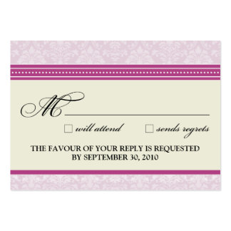 """::claire:: Charming Damask 3.5""""x2.5"""" RSVP Card Business Card"""