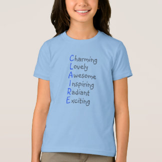 Claire - Personalized Blue Acrostic with Virtues T-Shirt