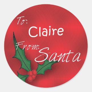 Claire personalizó etiquetas del regalo del acebo pegatina redonda