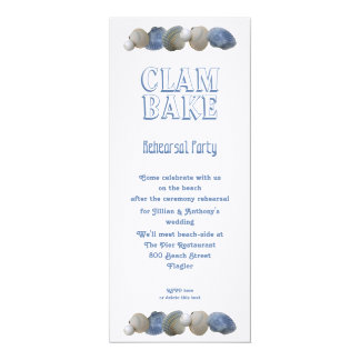 Clam Bake Tall Wedding Rehearsal Party Invitation