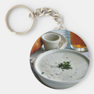 Clam Chowder With Beer And Sour Dough Bread Keychain