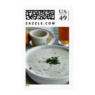 Clam Chowder With Beer And Sour Dough Bread Stamps