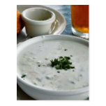 Clam Chowder With Beer And Sour Dough Bread Postcard