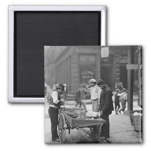 Clam Seller on Mulberry Street, 1900 2 Inch Square Magnet