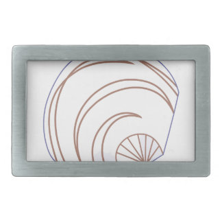 Clam Shell Applique Rectangular Belt Buckle