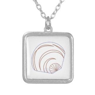 Clam Shell Applique Square Pendant Necklace