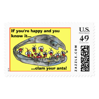 Clam your ants custom postage stamps