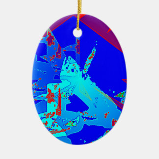Clamp Brass D Double-Sided Oval Ceramic Christmas Ornament