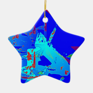 Clamp Brass D Double-Sided Star Ceramic Christmas Ornament
