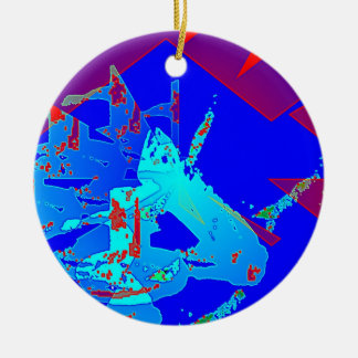 Clamp Brass D Double-Sided Ceramic Round Christmas Ornament