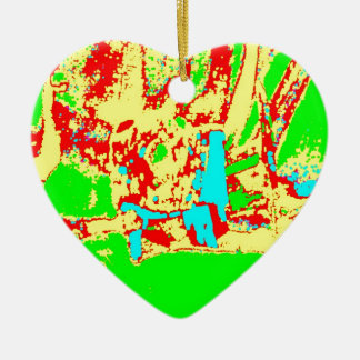 Clamp Brass F Double-Sided Heart Ceramic Christmas Ornament