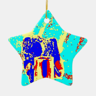 Clamp Brass H Double-Sided Star Ceramic Christmas Ornament