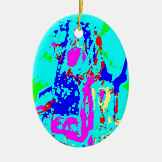Clamp Brass J Double-Sided Oval Ceramic Christmas Ornament