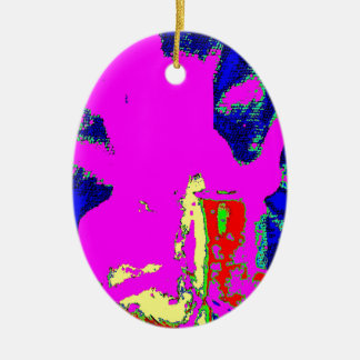 Clamp Brass K Double-Sided Oval Ceramic Christmas Ornament