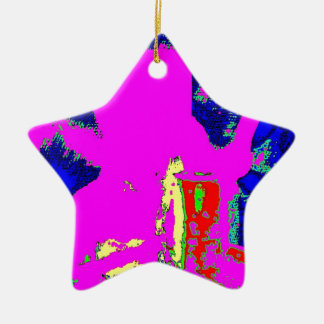 Clamp Brass K Double-Sided Star Ceramic Christmas Ornament