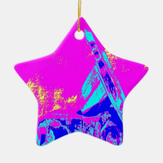 Clamp Brass M Double-Sided Star Ceramic Christmas Ornament