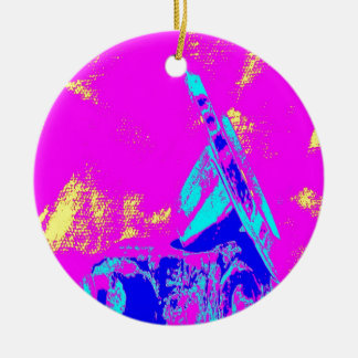 Clamp Brass M Double-Sided Ceramic Round Christmas Ornament